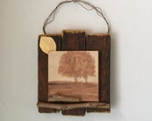 Nature Inspired Decor, Rustic Wall Art, Twigs Trees Leaves, Autumn Falls, Gold Metal Leaf, Cabin, Lodge, Wedding Gift, New Home, Office