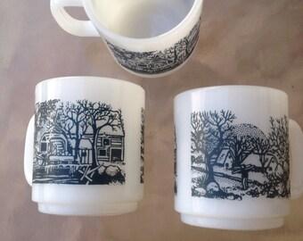 Glasbake Mug, Milk Glass Mug, Currier & Ives Mug, Farm Scene Mug, Country Scene Mug, Barn Horse Farm Mug, Farm Decor, Country Decor, Cabin