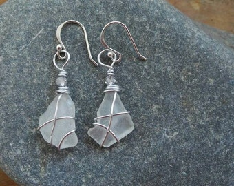 Sea glass earrings HANDMADE , solid silver hooks