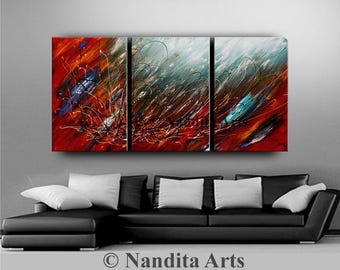 ABSTRACT ART ORIGINAL Painting Large Red , Black and Black Impasto Fine Art Gallery Surreal Contemporary Art Daily Artwork Nandita Albright