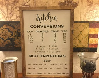 Kitchen Conversions Wooden Sign 12x18