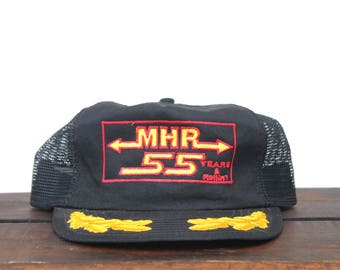 Vintage MHR 55 Years And Rolling Captain Brim Trucker Hat Snapback Baseball Cap