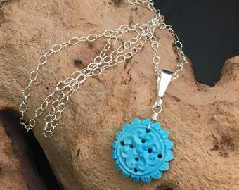 Carved Turquoise Necklace, Aqua Stone Pendant , Sterling chain, Necklaces  under 90