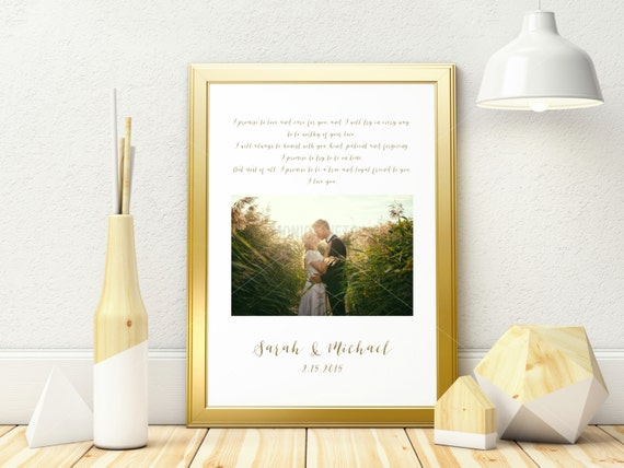 Personalised Wedding Vow Gifts : Custom Wedding Vows Calligraphy Printable/ Anniversary Gift/ Wedding ...