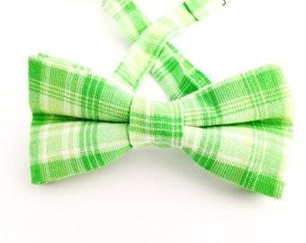 Green plaid bow tie, green plaid bow ties, green bow ties, green bow tie, Father's Day gift,green cotton bow tie, green plaid necktie.
