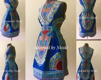 Dashiki Midi Pencil Dress: African Print Dashiki Dress with Pleated Pencil Skirt