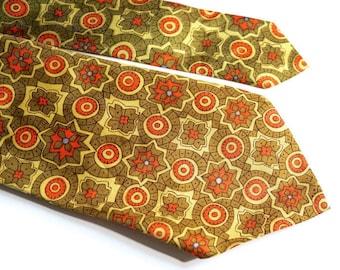 "Vintage Floral Tie,Avocado Green, Yellow & Orange Mod Print,60s/70s Necktie,56.3"" x 3.9"" Acetate Tie,His or Hers Hipster Flower Power Hippie"