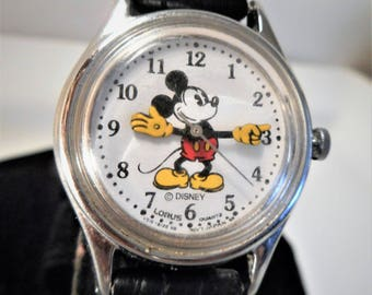 Vintage Disney Lorus Mickey Mouse Working Women's Watch, New Battery, Vintage Walt Disney Mickey Mouse Moving Arms, Water Resist Watch..MINT