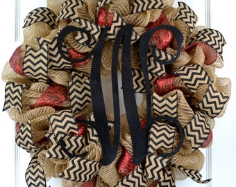 Year Round Front Door Wreaths - Monogram wreath - Everyday wreath - Monogram wreath - Jute wreath - Burlap wreath - Initial Wreath