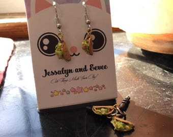 Miniature Polymer Clay Realistic Taco Food Earrings and Electronic Dust Plugs
