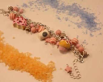 bracelet with handmade polymer clay charms! coffee cupcake donut with sprinkles