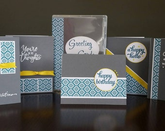 Set of 5 - Greeting Card Set - Teal and Grey