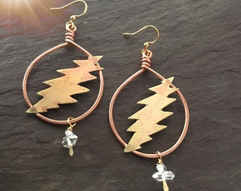 Grateful dead earrings / 13 point lightening bolt / handmade jewelry / herkimer diamond clear quartz crystal / Furthur festival hippie gift