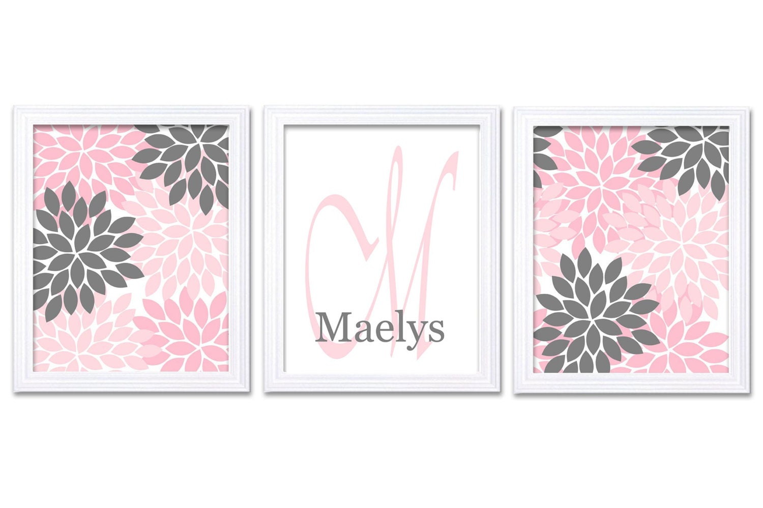 Nursery Art Set of 3 Prints Custom Letter Monogrham Name Chrysanthemum Flowers Grey Pink Baby Girl W