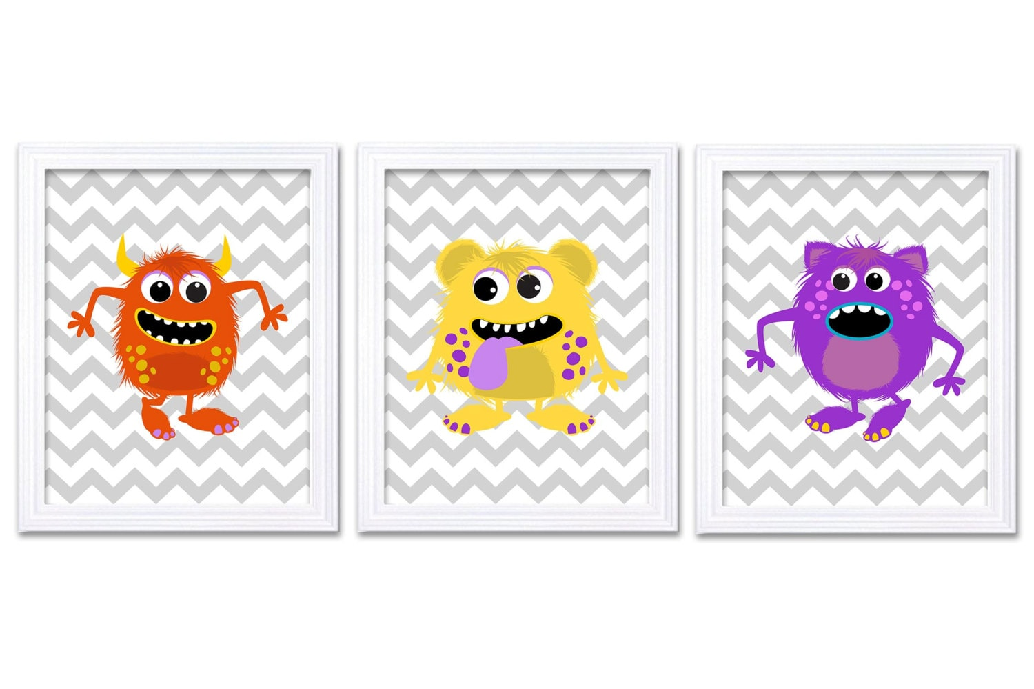 Monster Nursery Art Set of 3 Prints Orange Yellow Purple Grey Chevron Child Art Kids Room Wall Art B