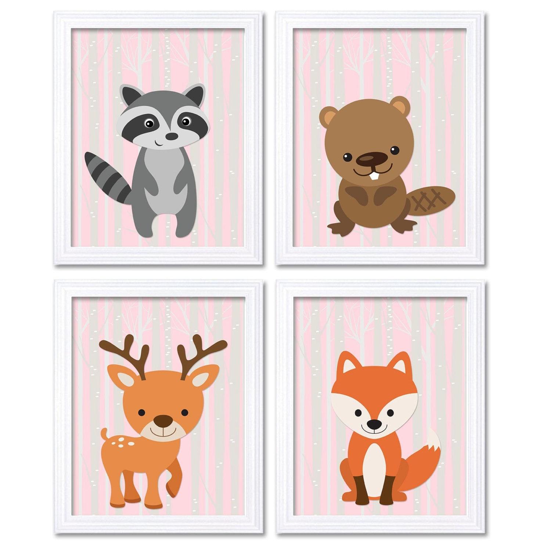 Pink Grey Deer Fox Nursery Art Set of 4 Prints Woodland Animals Racoon Beaver Deer Fox Child Kid Bab