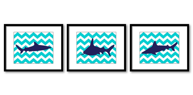 Turquoise Navy Blue Shark Animal Art Prints Stripes Set of 3 Chevron Sharks Boys Art Nursery Art Pri