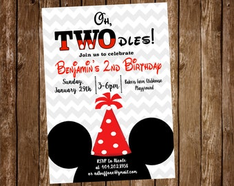 Mickey Mouse Birthday Party Invitation, TWOdles, 2nd Birthday, Mickey Mouse - Digital or Printed