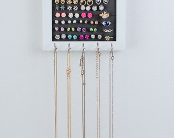 Hanging Jewelry Frame - 5x7 White - Necklace Hooks