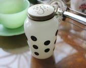 Vintage White Milk Glass FIRE KING Black DOT Pepper Shaker by Anchor Hocking