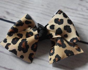 Leopard Cheetah Mini Cheer Bow Style Hair Bow