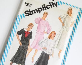 SIZE 12 6245 Simplicity Women's 2 Piece Dress Blouse Shirt Skirt UNCUT Sewing Pattern Vintage 1980s Eighties Misses Boat Neck Drop Waist