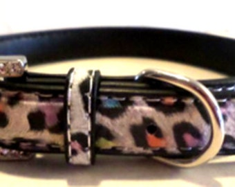 Very Cool Leopard Faux Dog Collar and Matching Leash Set, Medium!