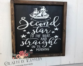 Second star to the right / wood sign / home decor