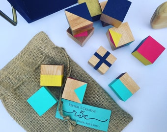 Hand Painted Organic Wooden Blocks, Multi Color