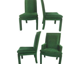 Vintage Green Velvet Parsons Dining Chairs After Milo Baughman