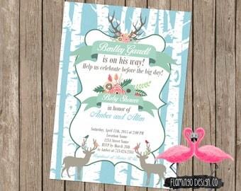 Woodsy Baby Boy Baby Shower Invitation (digital U0026 Card Stock)   Rustic Baby  Shower