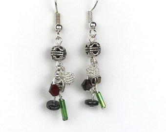 Cluster Earrings with Green and Maroon Highlights #1084