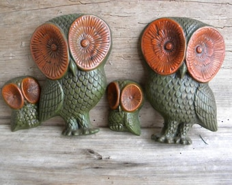 Vintage 70's Hanging Owl Family / Vintage Owl Wall Hangings / Foamcraft / Green and Brown Owl Decor / Hanging Owls