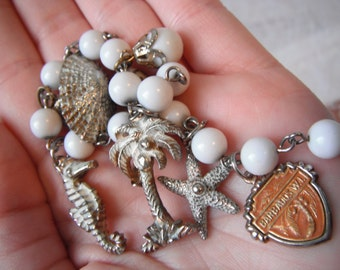 Eleven Bucks Sale! 60's Bermuda Charm Bracelet Travel Souvenir Vintage Jewelry Palm Tree Seahorse Starfish Sea Shell Beack Ocean White