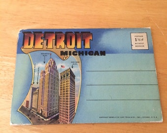 Vintage Detroit Michigan Postcard Folio