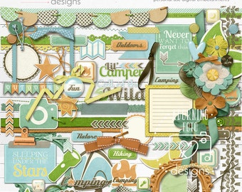 Lil' Camper Digital Scrapbooking Embellishments, camping digital scrapbook elements, camping