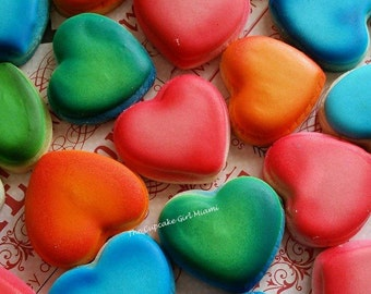 Mini rainbow heart sugar Cookies  2 Dozen