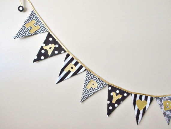 Birthday Banner - Black and Gold Party Decor -  Happy Birthday Sign - Fabric Flags - Gold Glitter Decorations - Metallic Bunting - Festive