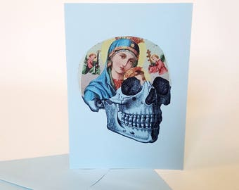 Virgin Mary Greeting Card Skull Rockabilly Lady of Guadalupe Art Blank Handmade Birthday Card
