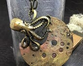 Octopus Steampunk Necklace handmade artisan jewelry