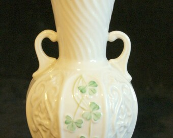 Reserved for Nancy Belleek Shamrock Vase and  Summer Briar vase Irish, Parian Ware,