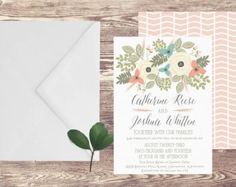 The Lexington Wedding Invitation and RSVP Set, Floral Wedding Invitations, Garden Wedding Invitations, Spring Wedding Invitations