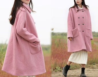 450-Women's Loop-Yarns Wool Oversized Coat, Double Breasted Wool Trapeze Coat, Simplicity, Cape Coat, Poncho Coat, Pink A-line Coat.