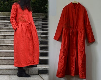 548---Linen Padded Dress Coat, Red Quilted Coat, with Hand Embroidery, Made to Order.
