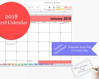 2018 Calendar Year Printable Excel Template 2018 Monthly
