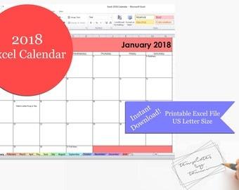Excel 2018 Calendar Printable | Printable 2018 Excel Calendar Template | 2018 Excel Calendar | US Letter Size | Printable Excel Template
