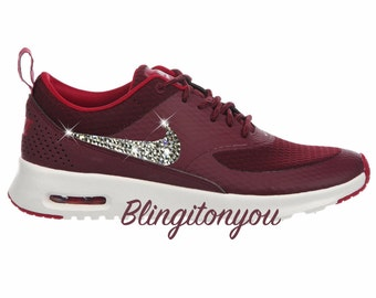 Women's Swarovski Nike Air Max Thea Running Shoes Maroon Blinged Out With Swarovski Crystal Rhinestones - Bling Nike Shoes
