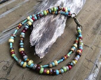 Beaded Picasso Bracelet, Czech Picasso Beads, Southwest Look Colorful Bracelet, Boho Jewelry