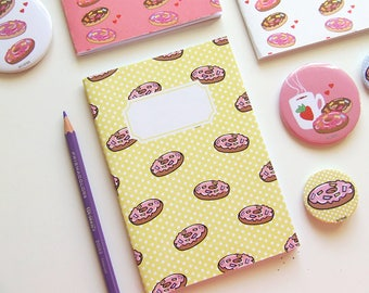 Yellow Donuts Pattern Journal - Pocket size Notebook -Polka Dot - Blank pages