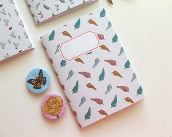 Feathers Journal - Pocket size Notebook  - Pattern - Blank Pages